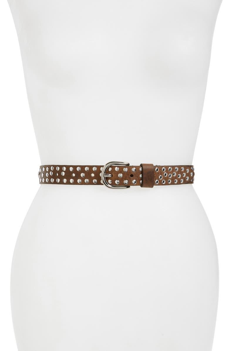 ISABEL MARANT Zalli Studded Leather Belt, Main, color, KHAKI/ SILVER