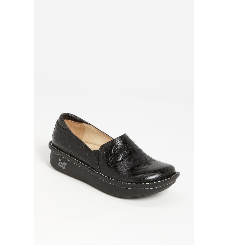 ALEGRIA 'Debra' Slip-On, Main, color, BLACK EMBOSSED ROSE LEATHER