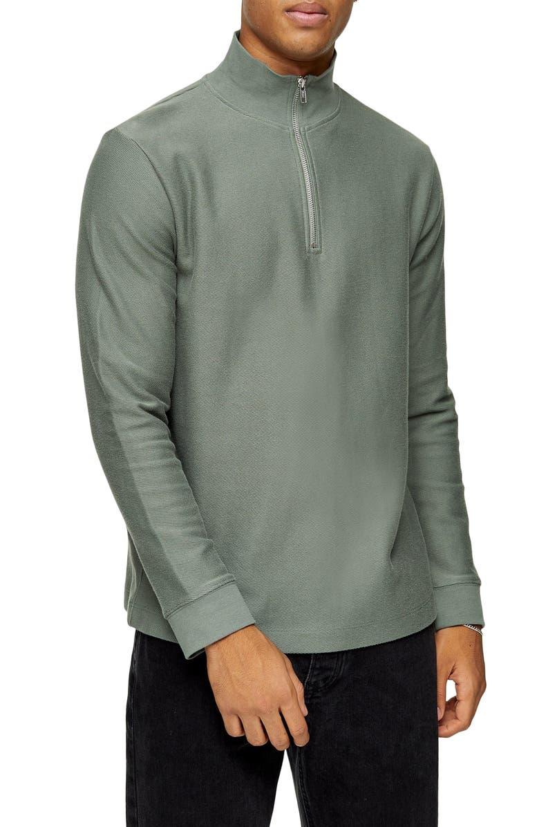 TOPMAN Quarter Zip Pullover, Main, color, SAGE GREEN