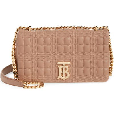 Burberry Small Lola Quilted Check Lambskin Bag - Brown