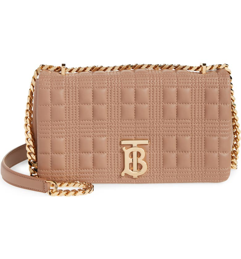 BURBERRY Small Lola Quilted Check Lambskin Bag, Main, color, SOFT CAMEL