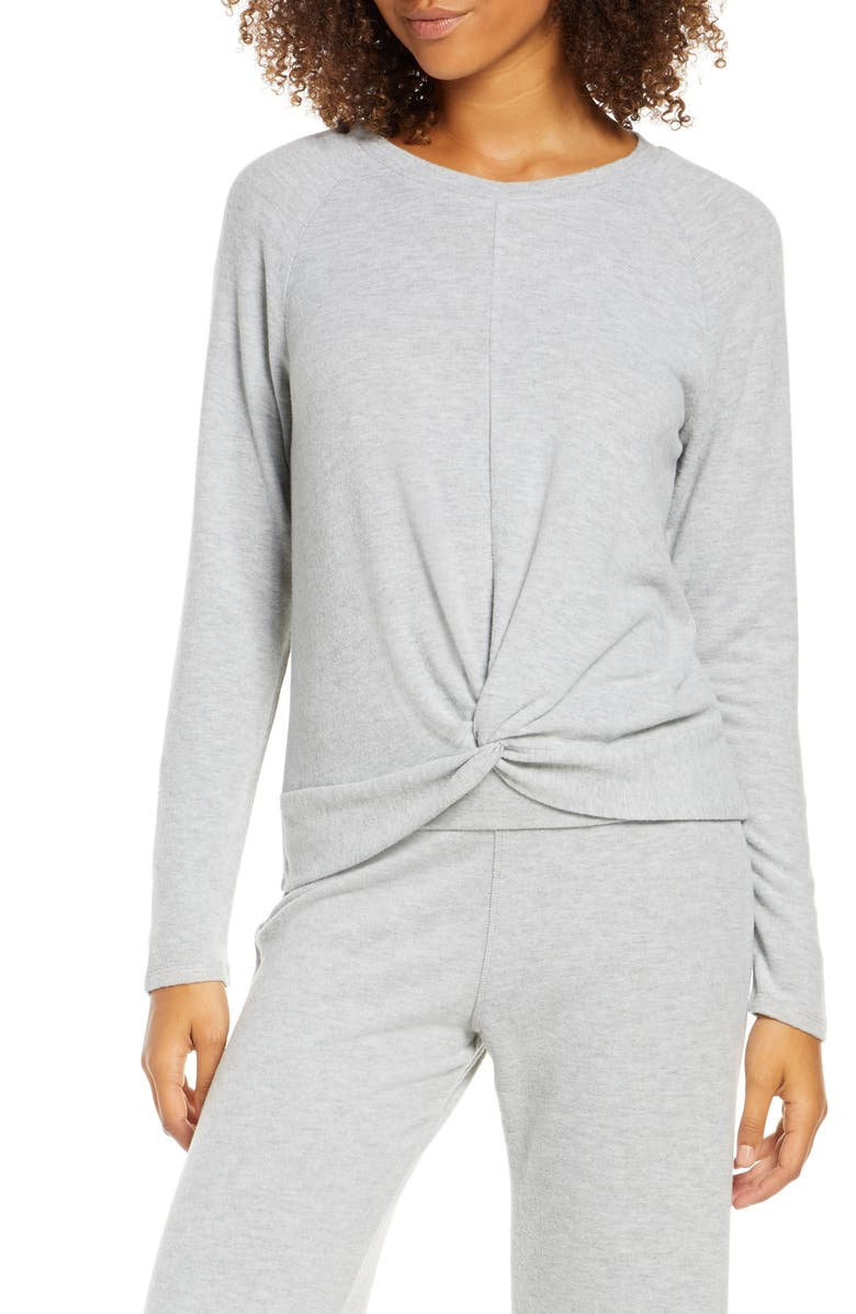 SOCIALITE Twist Front Brushed Hacci Sweatshirt, Main, color, GREY
