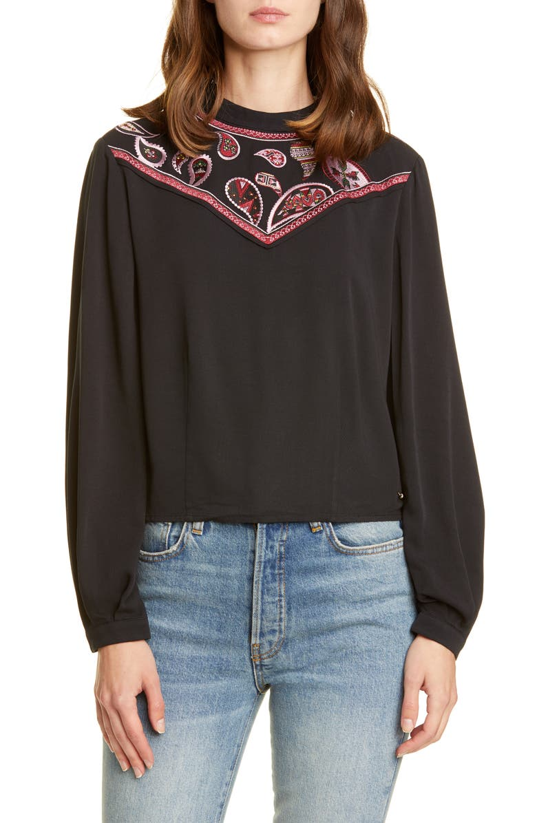 TED BAKER LONDON Colour by Numbers Embroidered Yoke Top, Main, color, BLACK