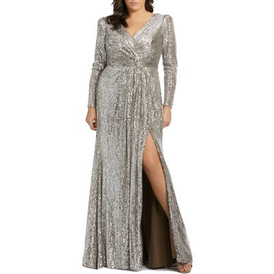 Plus Size MAC Duggal Sequin Long Sleeve Gown, Metallic