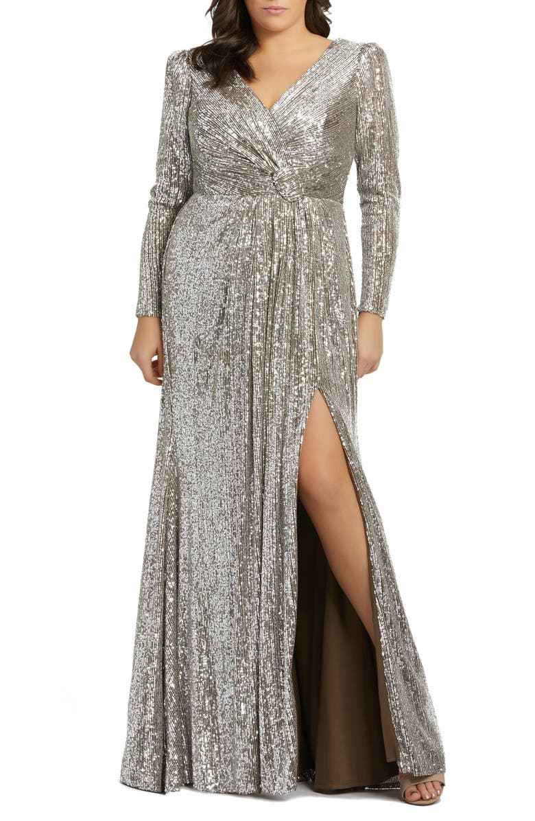 MAC DUGGAL Sequin Long Sleeve Gown, Main, color, SILVER