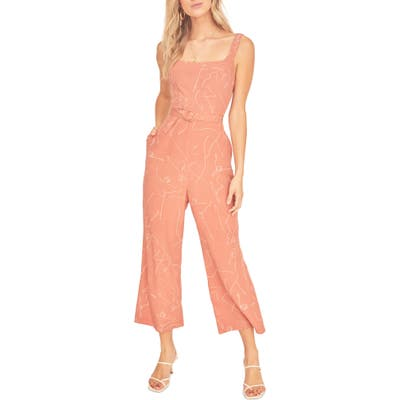 Astr The Label Chasse Wide Leg Jumpsuit, Coral