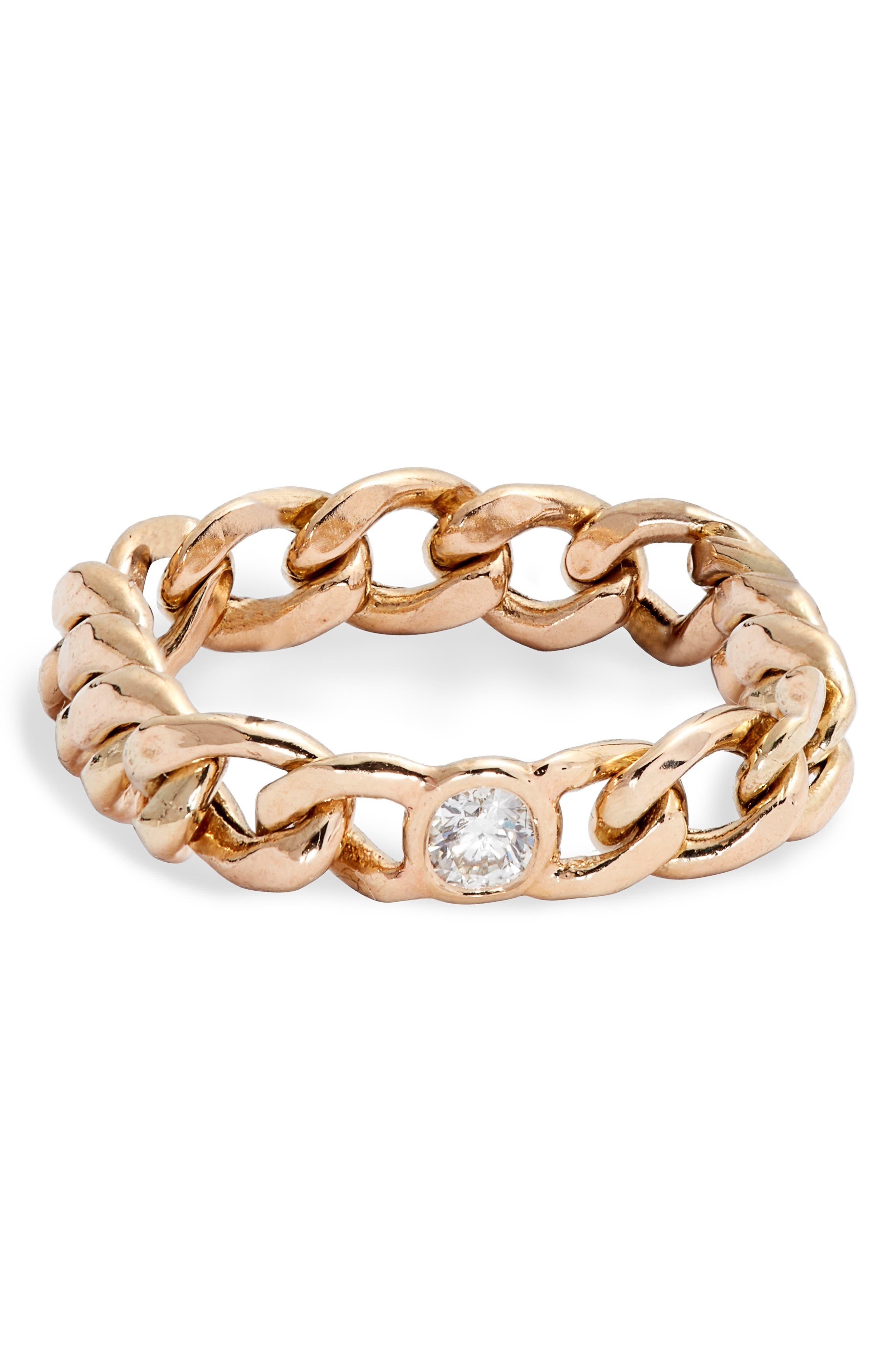 Zoe Chicco Diamond Medium Curb Chain Ring