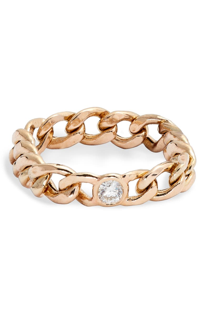 ZOË CHICCO Diamond Medium Curb Chain Ring, Main, color, YELLOW GOLD/ DIAMOND