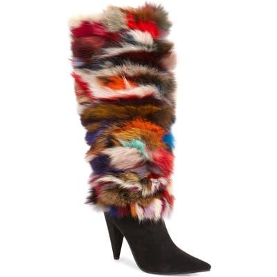 Jeffrey Campbell Maze Genuine Rabbit Fur Knee High Boot, Black