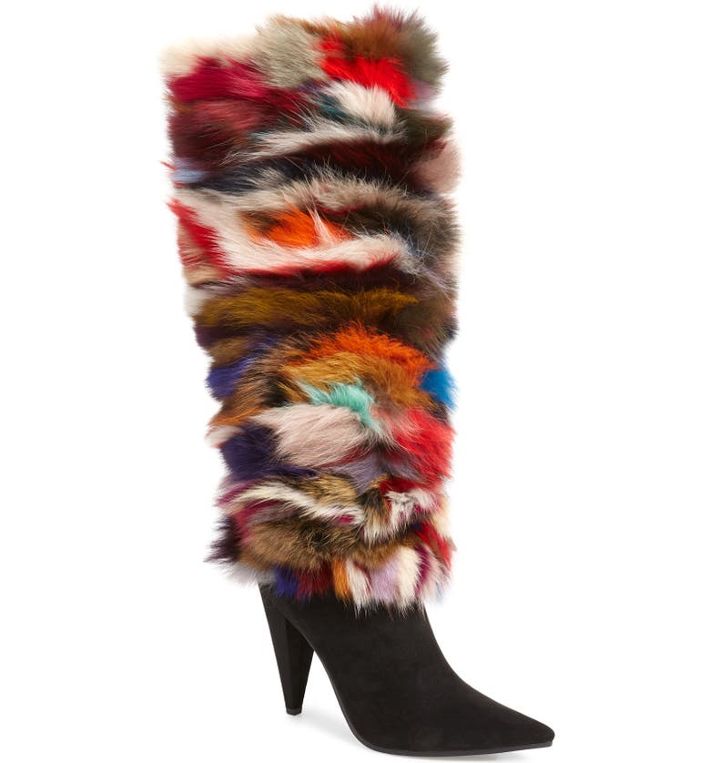 JEFFREY CAMPBELL Maze Genuine Rabbit Fur Knee High Boot, Main, color, BLACK SUEDE MULTI