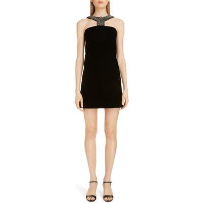 Givenchy Embellished Halter Minidress, 6 FR - Grey
