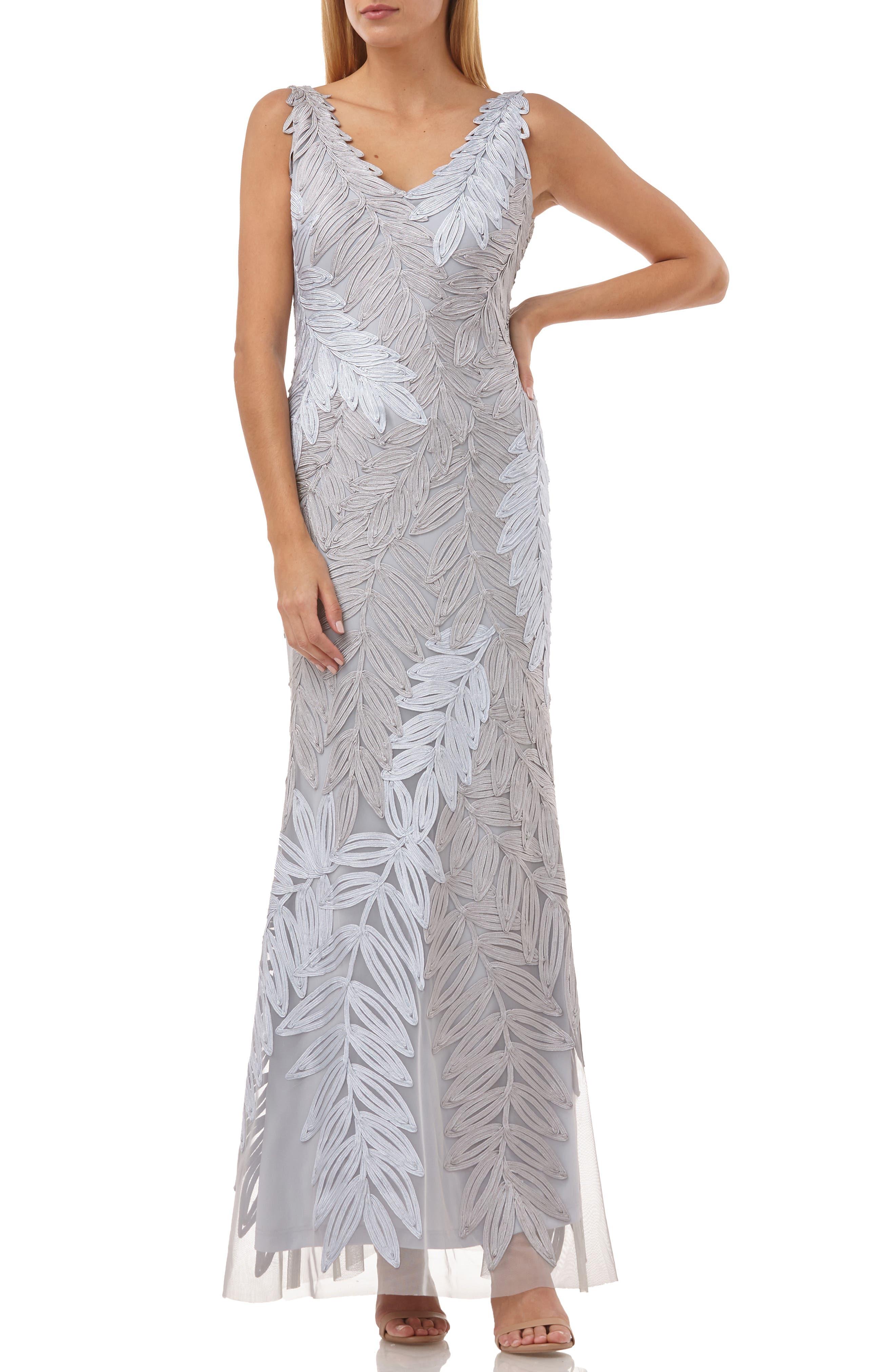 70s Dresses – Disco Dress, Hippie Dress, Wrap Dress Womens Js Collections Leaf Soutache Trumpet Gown Size 16 - Grey $214.80 AT vintagedancer.com