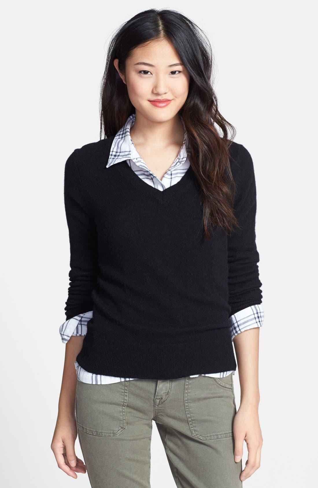 ,                             Cashmere V-Neck Sweater,                             Main thumbnail 1, color,                             001
