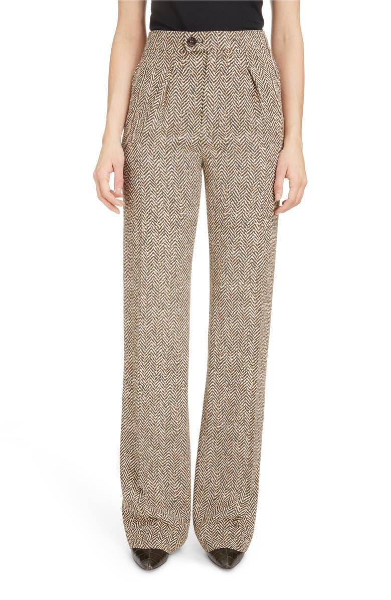 CHLOÉ Herringbone Print Crepe Pants, Main, color, 200