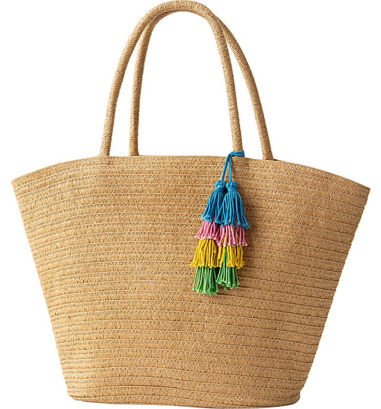 CATHY'S CONCEPTS Monogram Straw Tote, Main, color, BROWN