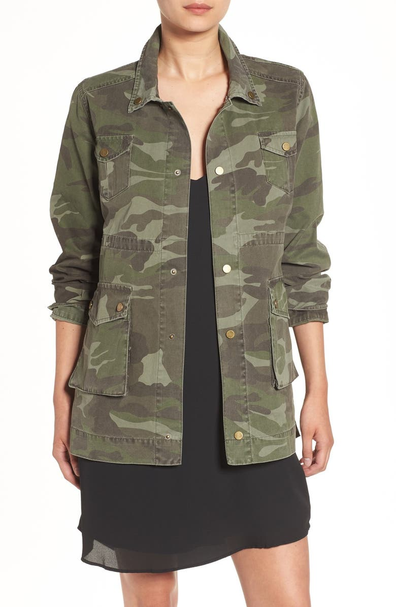 SINCERELY JULES 'Alexa' Camo Cotton Military Jacket, Main, color, 300