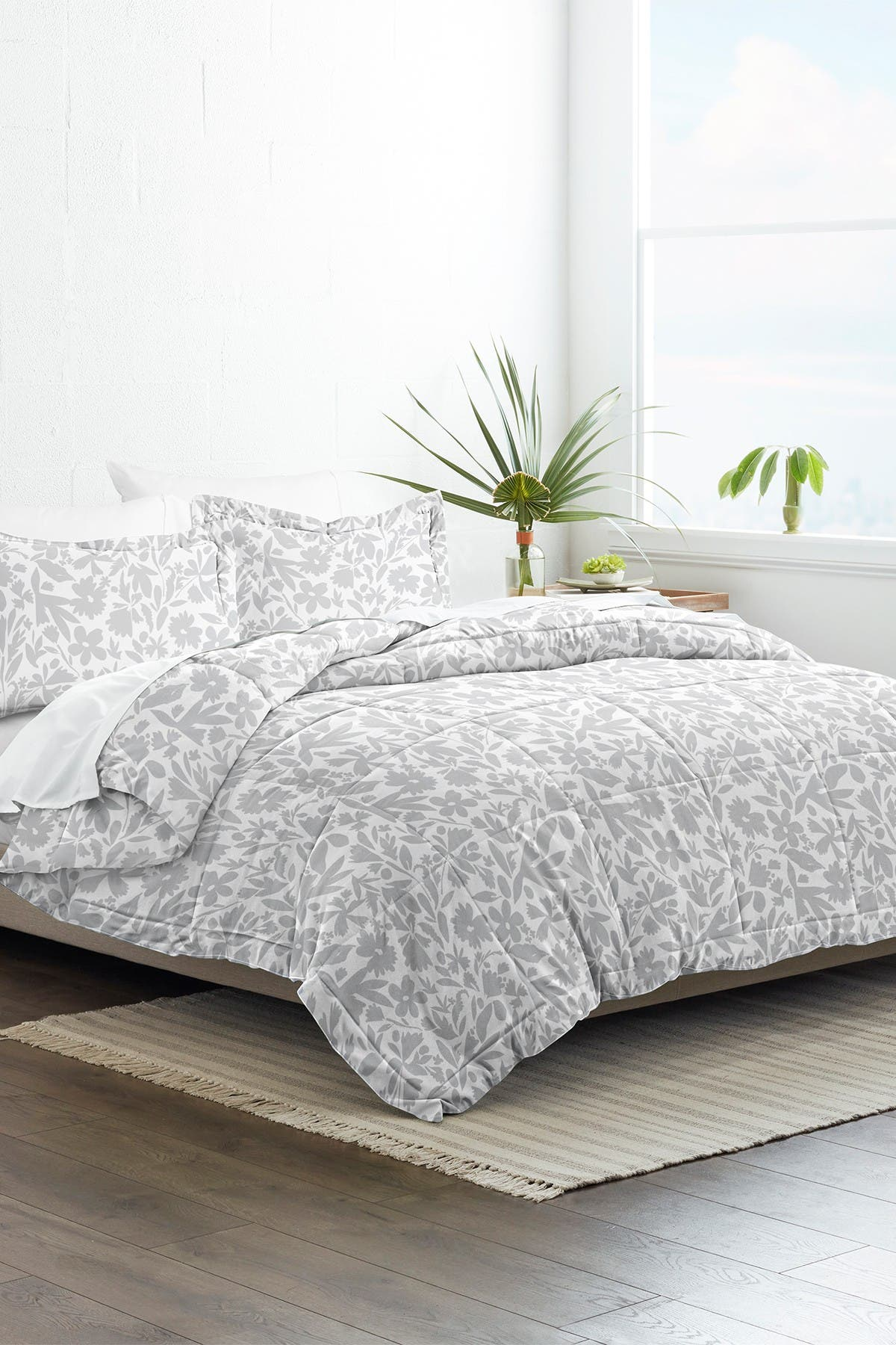 Ienjoy Home Home Collection Premium Down Alternative Abstract Garden Patterned Comforter Set Light Gray Full Queen Nordstrom Rack