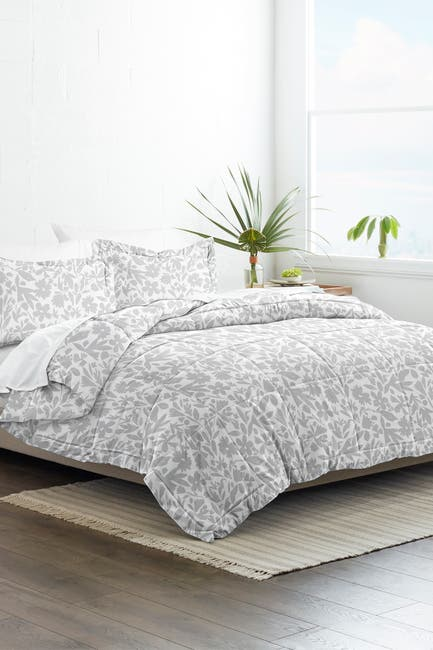 Image of IENJOY HOME Home Collection Premium Down Alternative Abstract Garden Patterned Full/Queen Comforter 3-Piece Set - Light Gray
