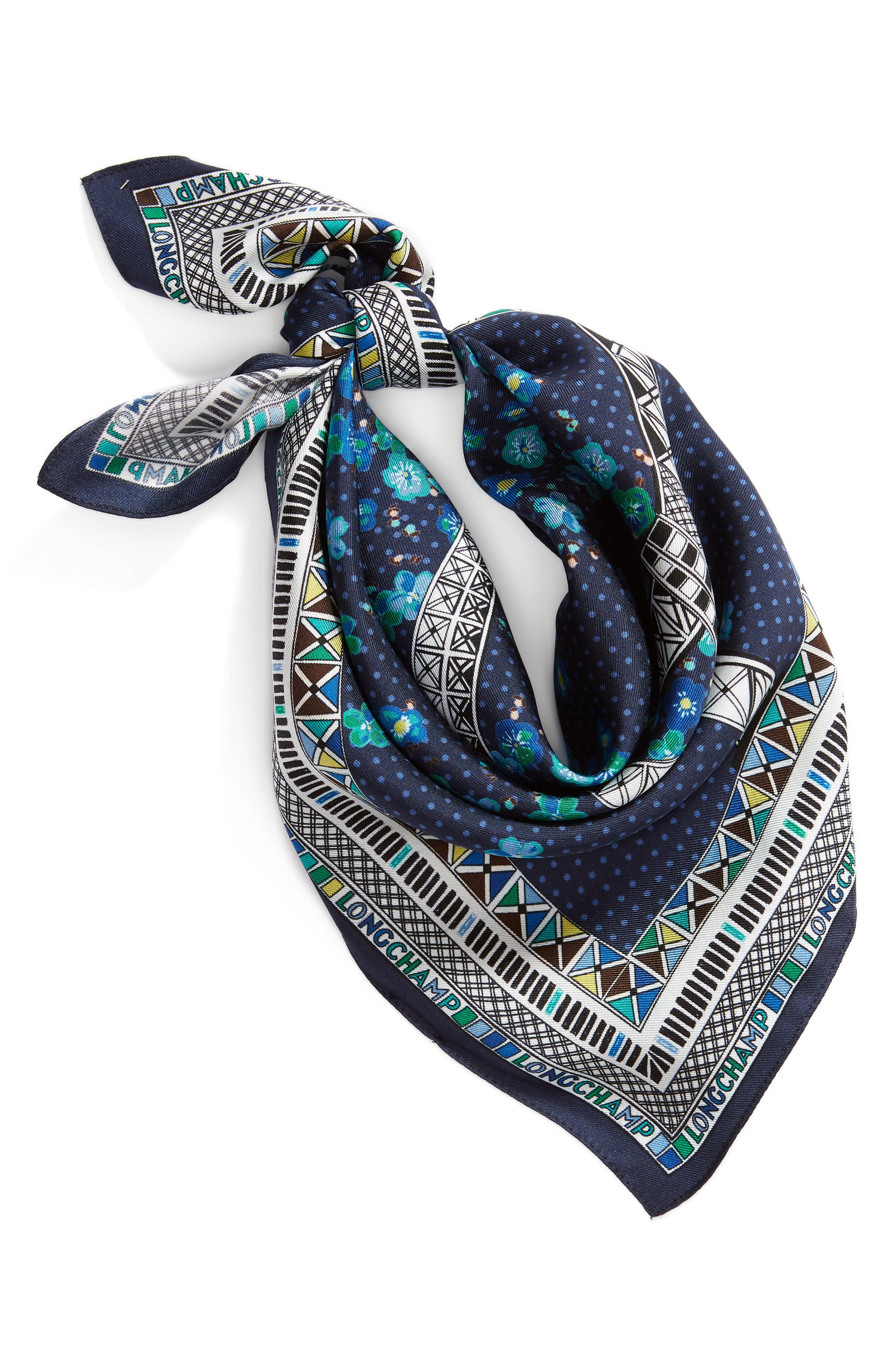 Tour Eiffel Silk Scarf, Main, color, NAVY