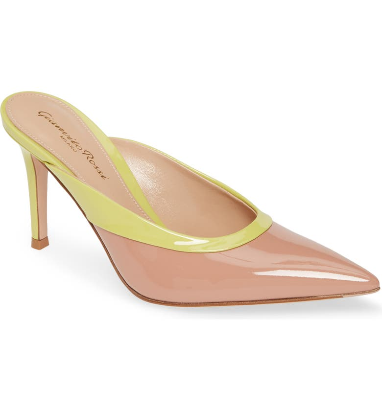 GIANVITO ROSSI Colorblock Mule, Main, color, DAHLIA PINK/ YELLOW