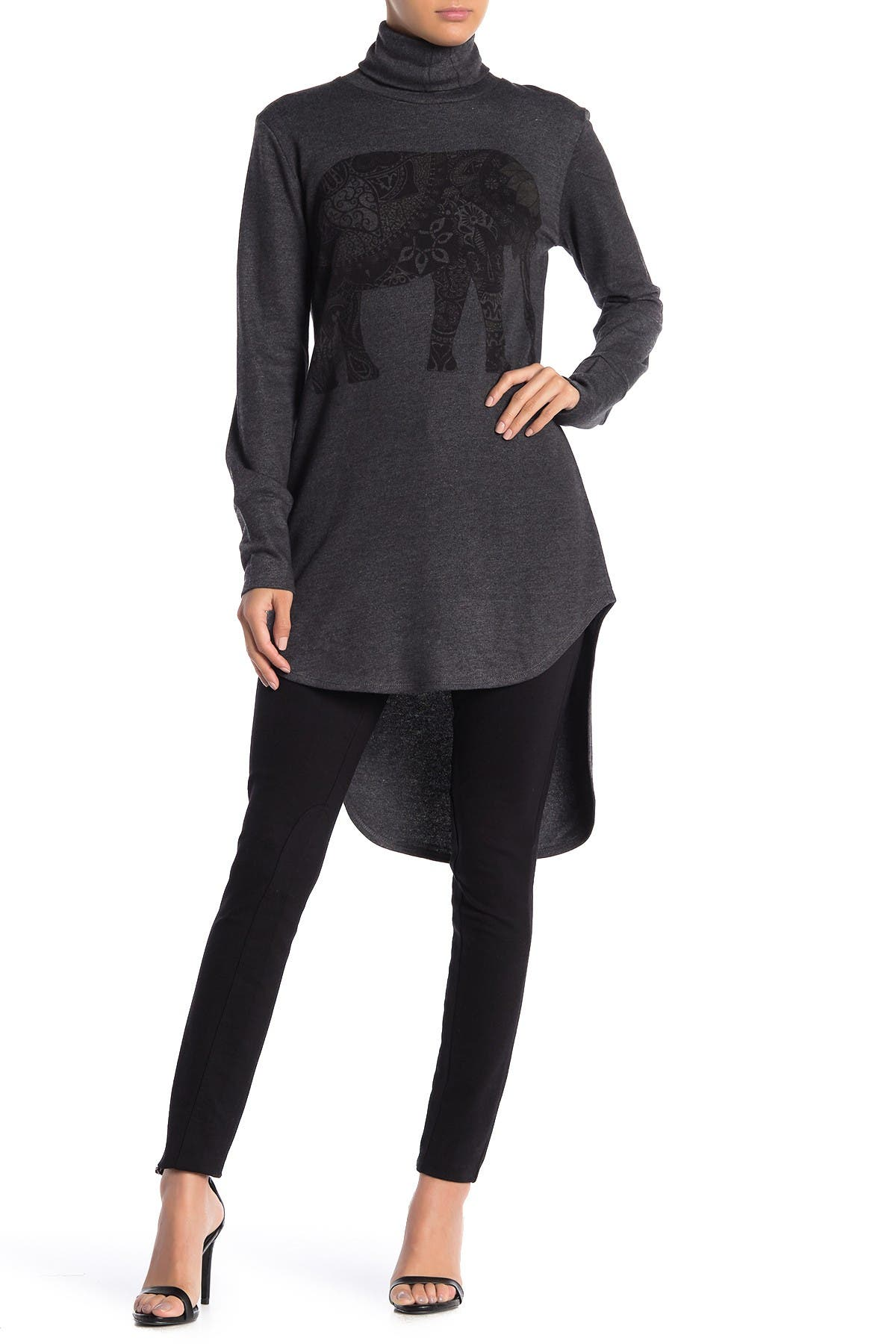 Image of Go Couture Turtleneck High/Low Hem Tunic Sweater
