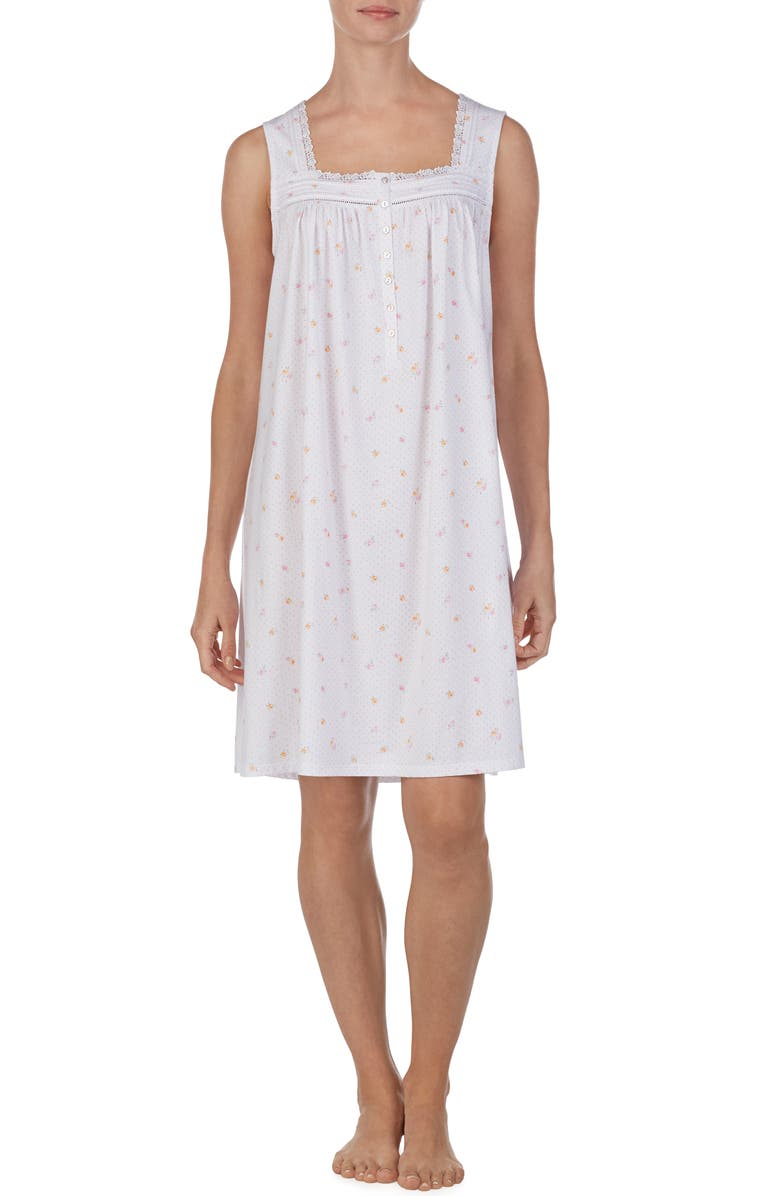 EILEEN WEST Square Neck Sleeveless Nightgown, Main, color, 100