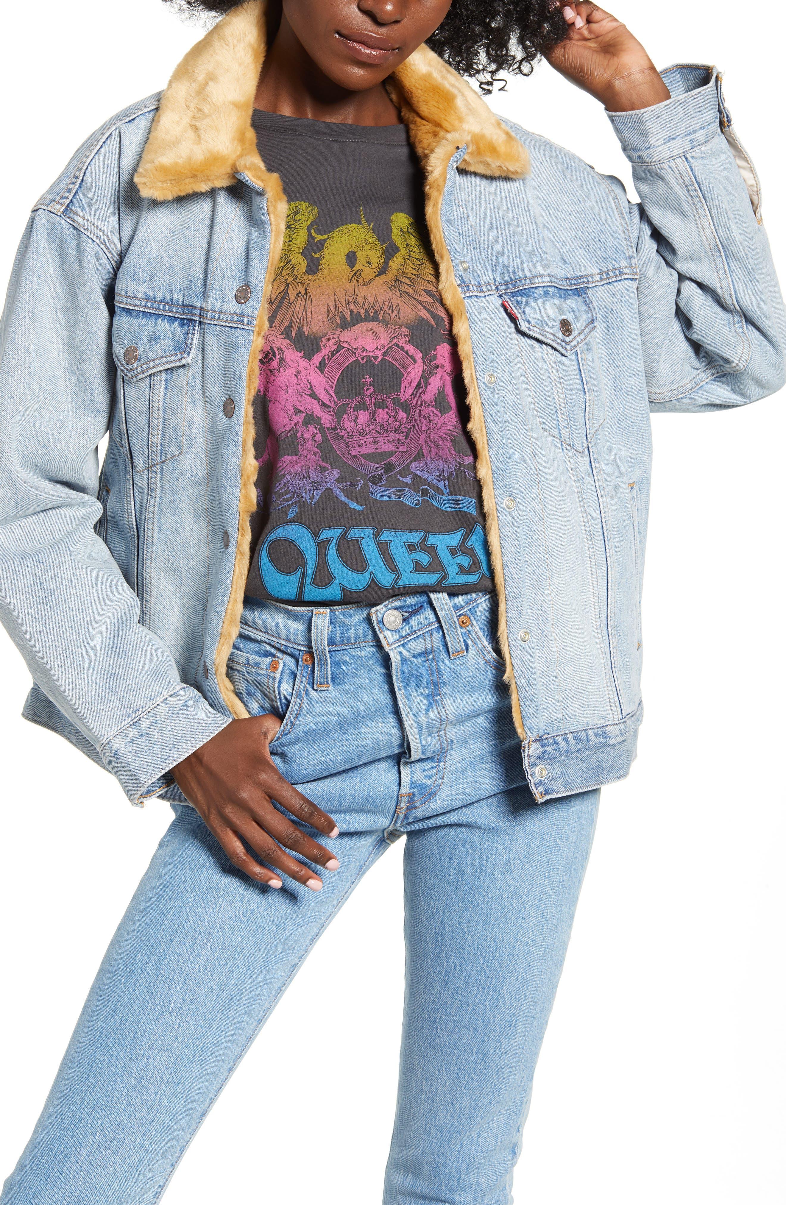 Levi's® Oversize Reversible Faux Fur & Denim Trucker Jacket