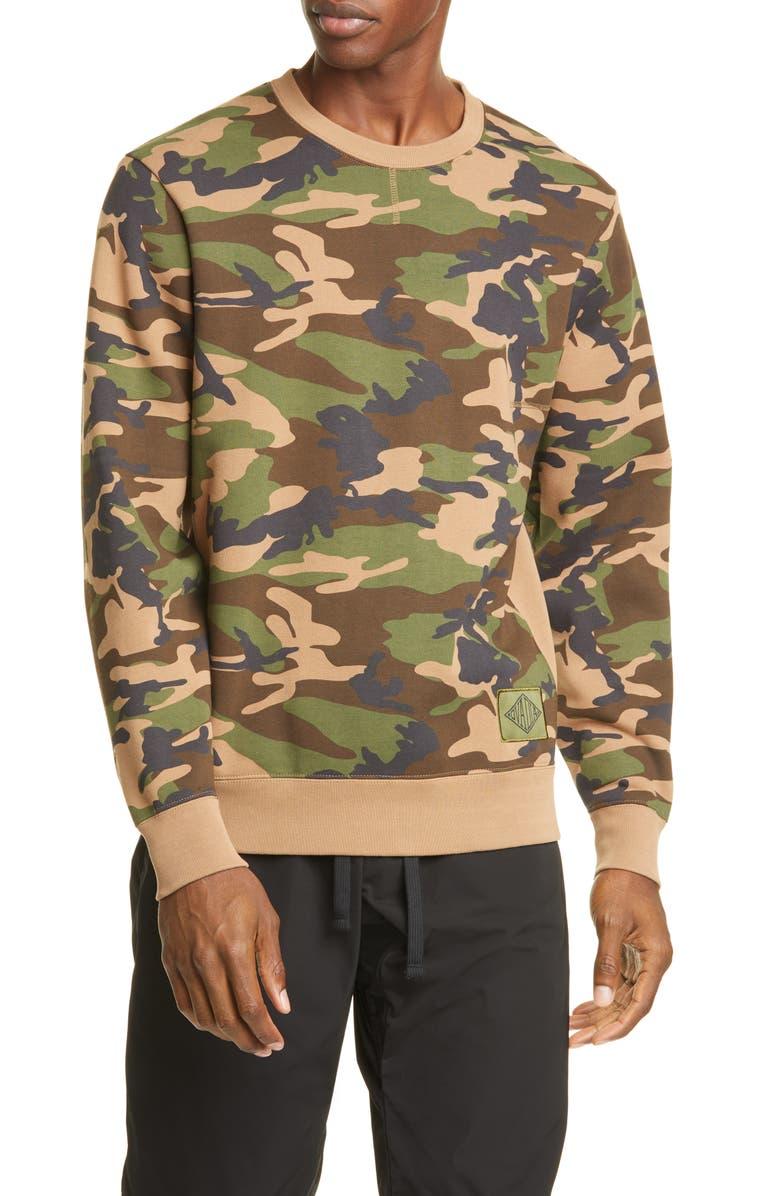 OVADIA & SONS Dune Camo Crewneck Sweatshirt, Main, color, CAMO/ RED