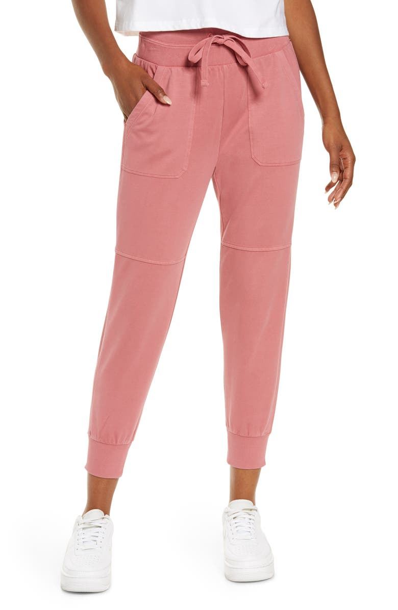 ZELLA Washed Organic Cotton Ankle Joggers, Main, color, PINK MAUVE