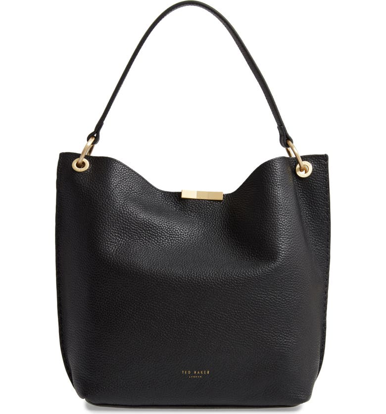 TED BAKER LONDON Candiee Bow Leather Hobo, Main, color, 001