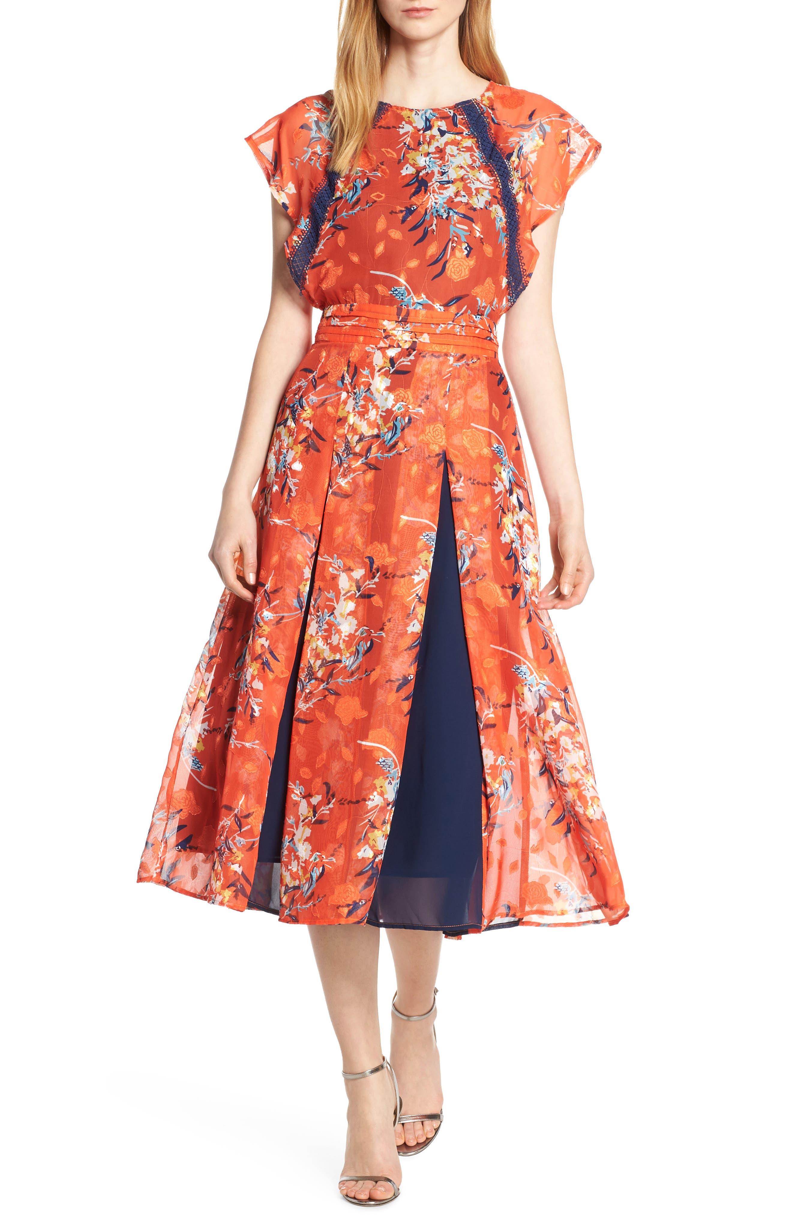 Olena Godet Flared Dress, Main, color, ORANGE MULTI