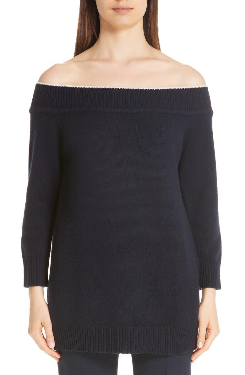 LELA ROSE Contrast Neck Off the Shoulder Wool & Cashmere Sweater, Main, color, 400
