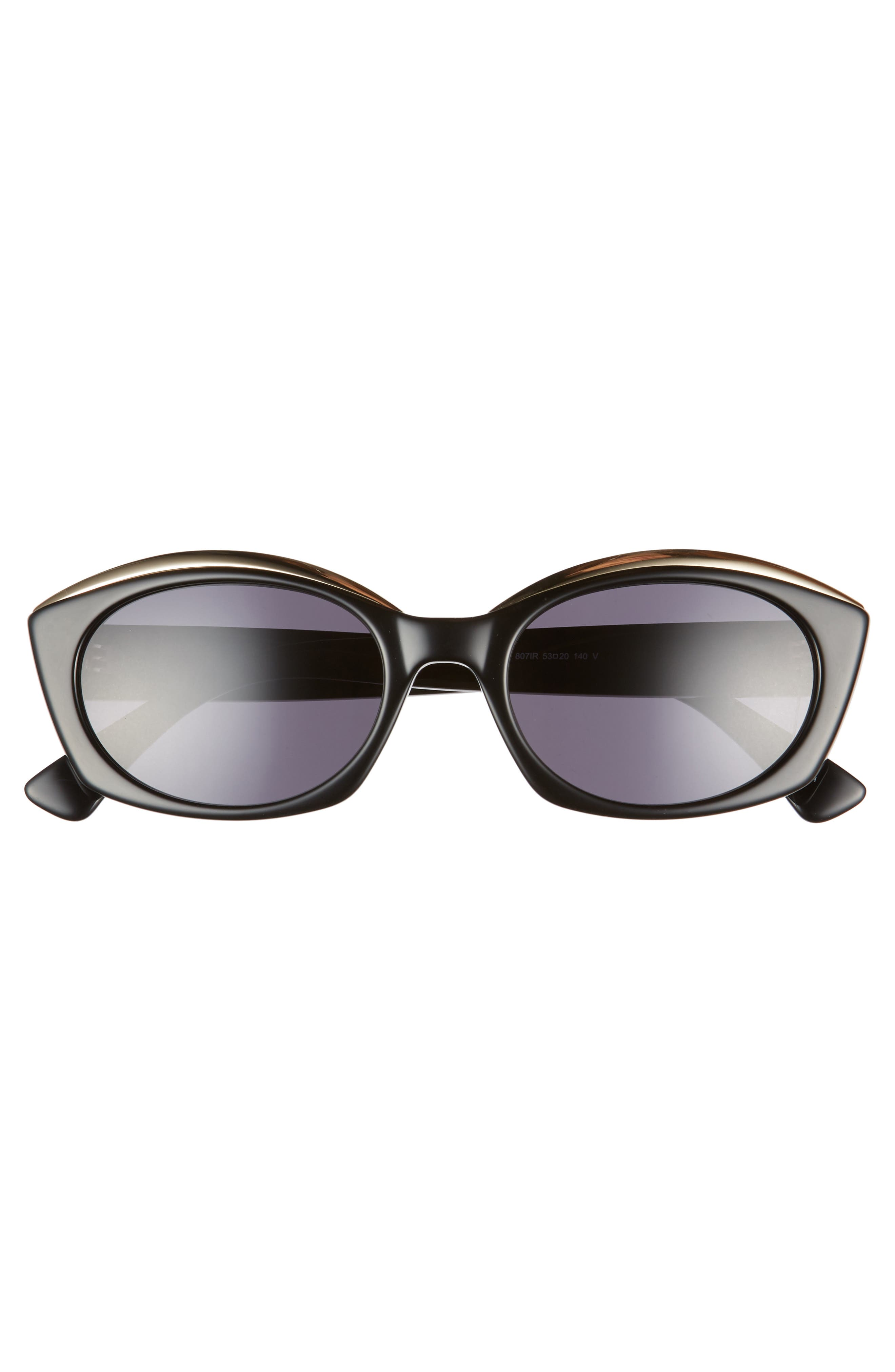 ,                             Core 53mm Oval Sunglasses,                             Alternate thumbnail 3, color,                             BLACK