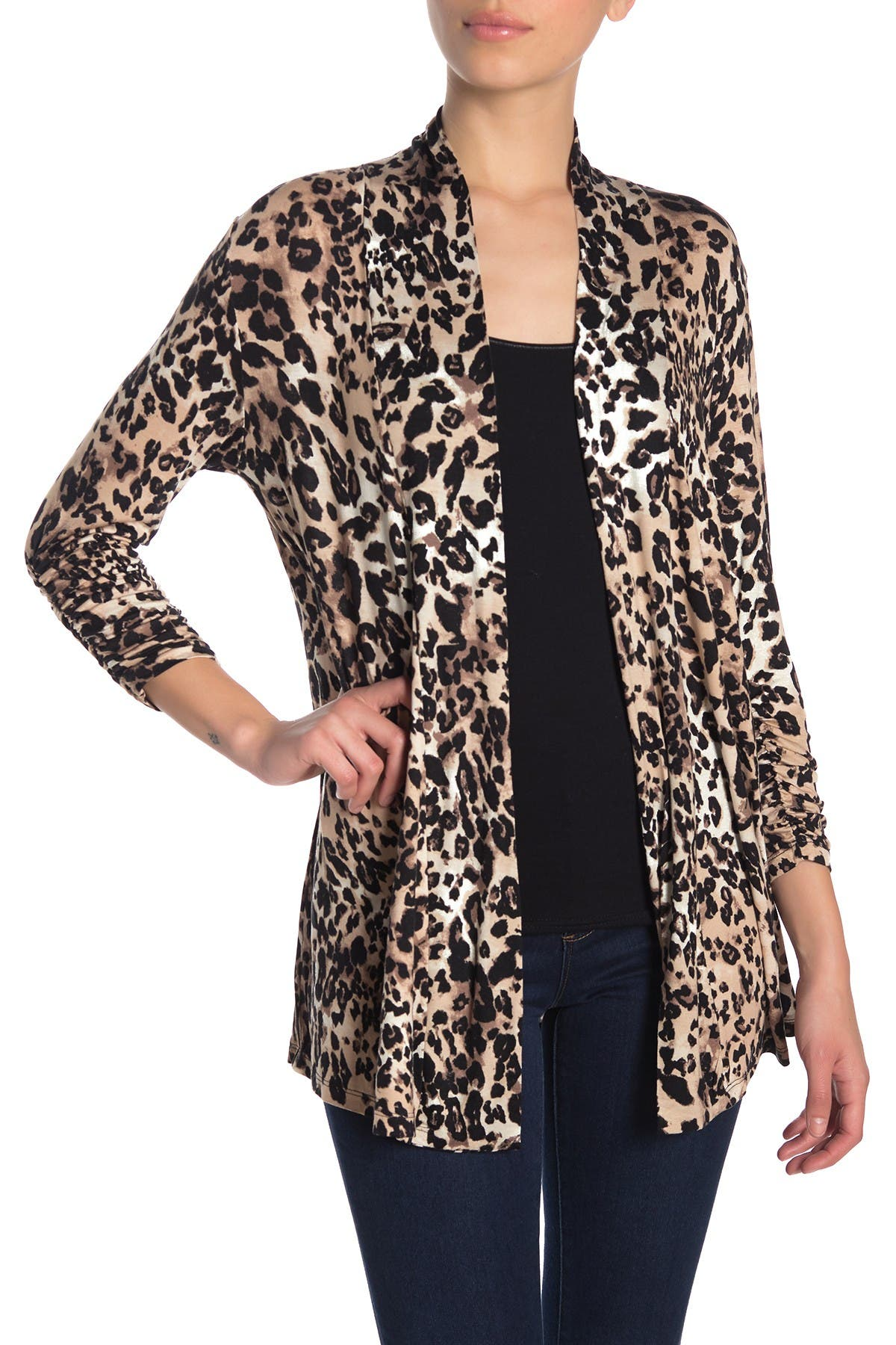 Image of Bobeau Leopard Print Ruched Sleeve Cardigan