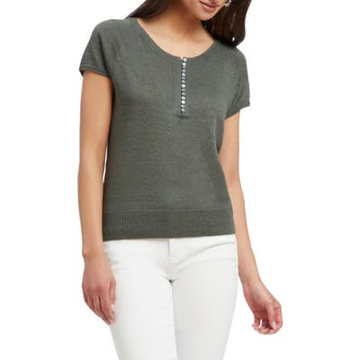 Nic+Zoe Button-Up Knit Tee, Green