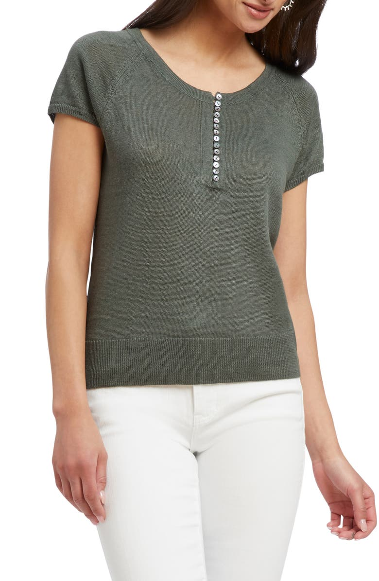 NIC+ZOE Button-Up Knit Tee, Main, color, URBAN GREEN
