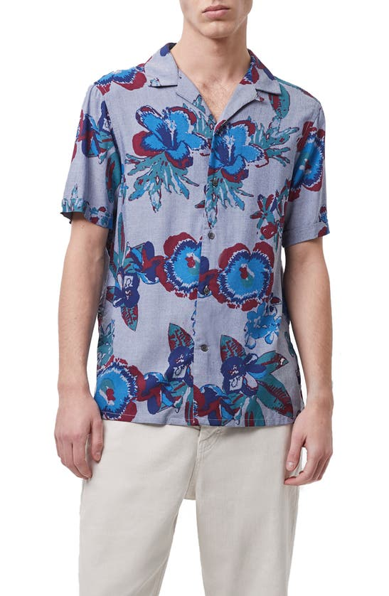 French Connection Floral Short Sleeve Button-up Shirt In Blue