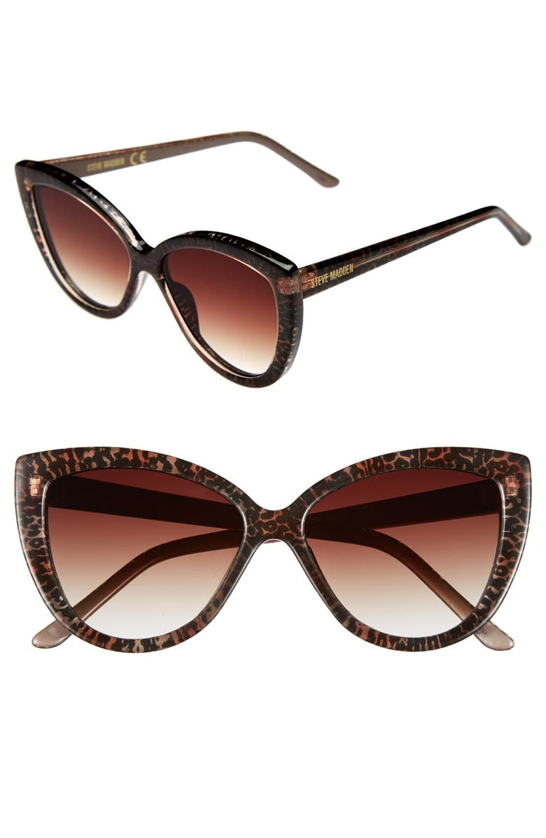 STEVE MADDEN 54mm Animal Print Cat Eye Sunglasses, Main, color, 200