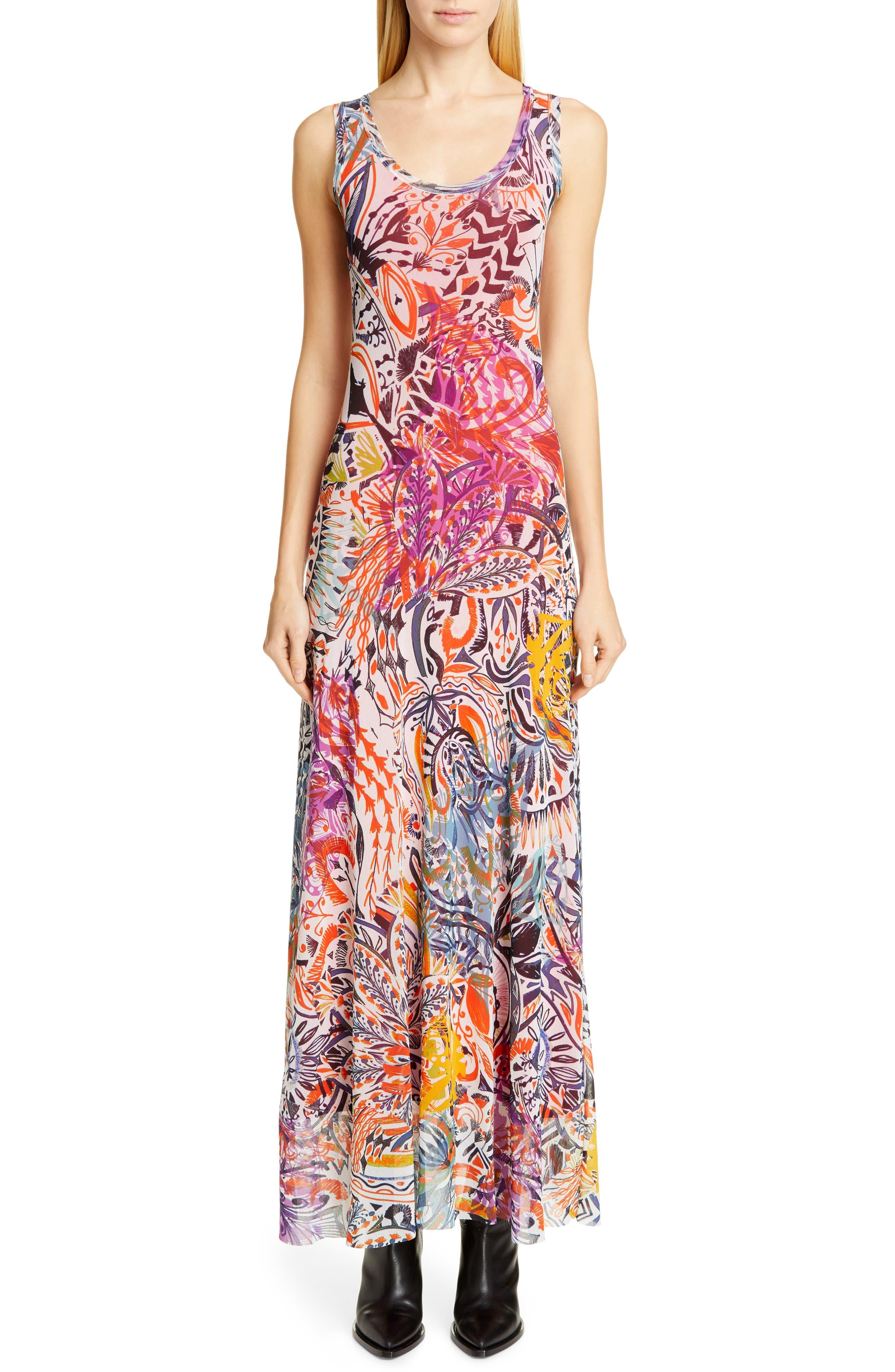Fuzzi Mystical Print Maxi Dress, Pink