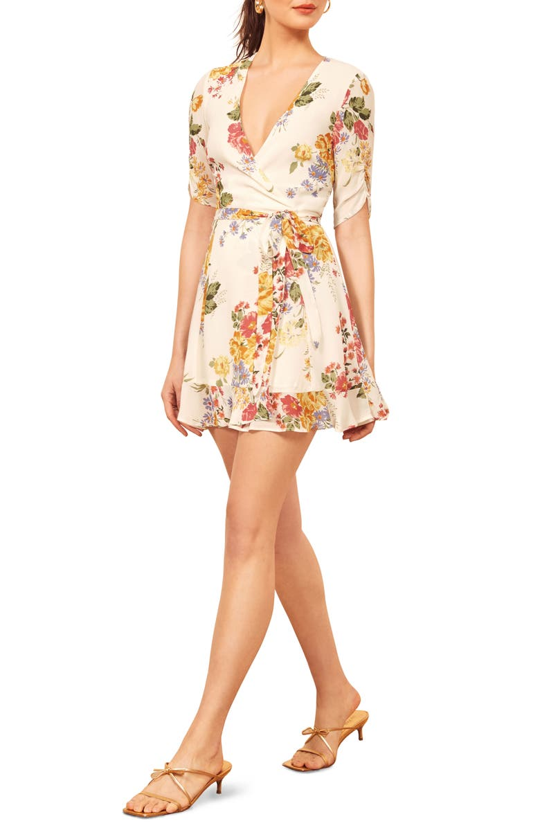 REFORMATION Monica Wrap Dress, Main, color, BOUQUET