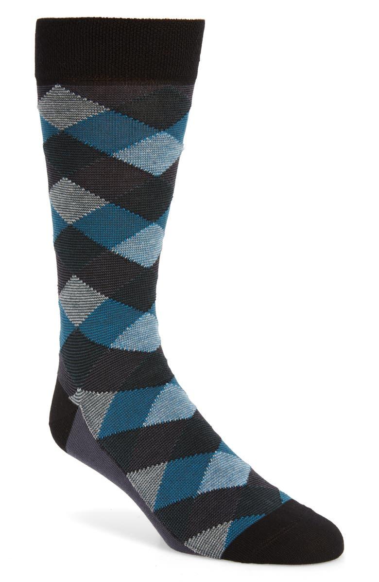 TED BAKER LONDON Geo Pattern Socks, Main, color, BLACK