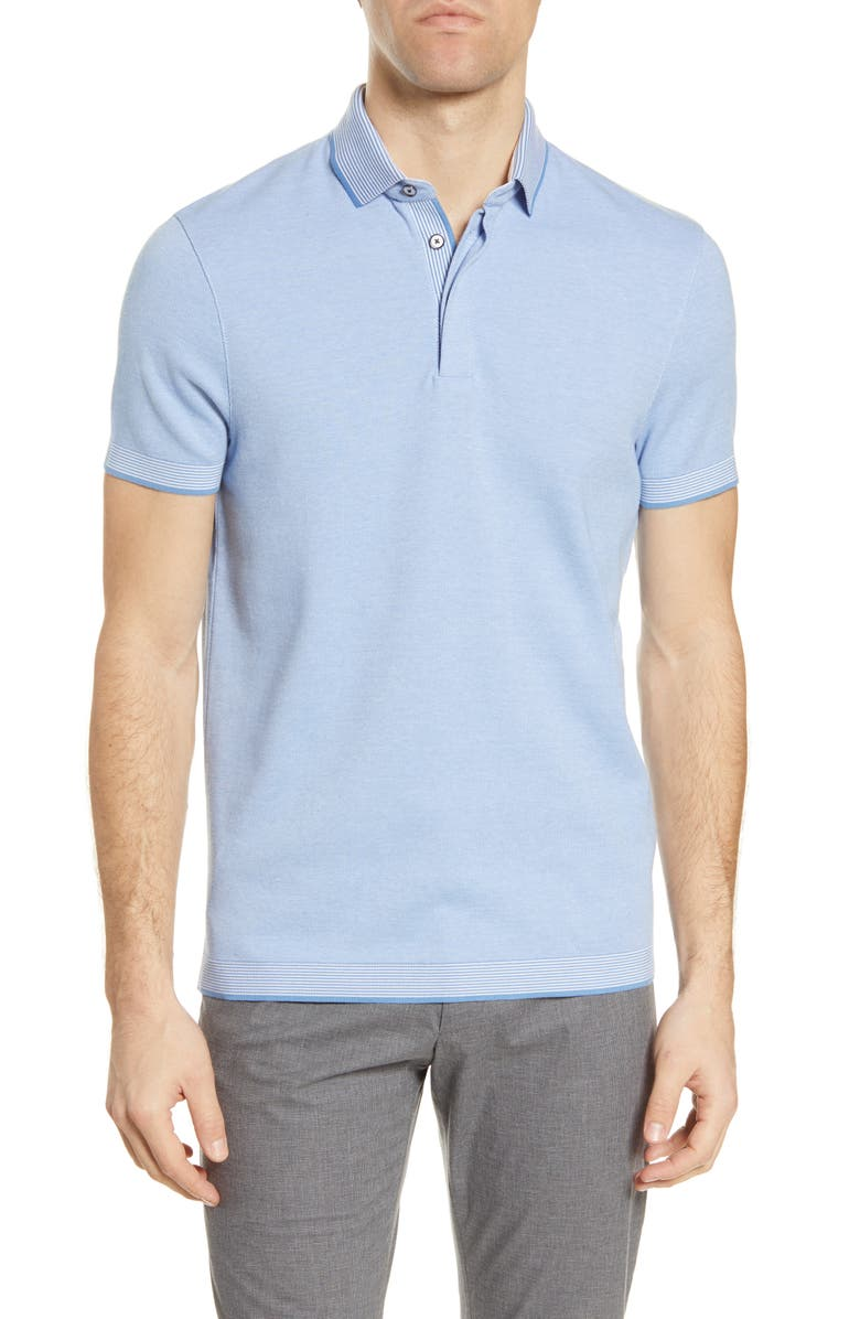 TED BAKER LONDON Lateone Slim Fit Short Sleeve Polo, Main, color, MID BLUE
