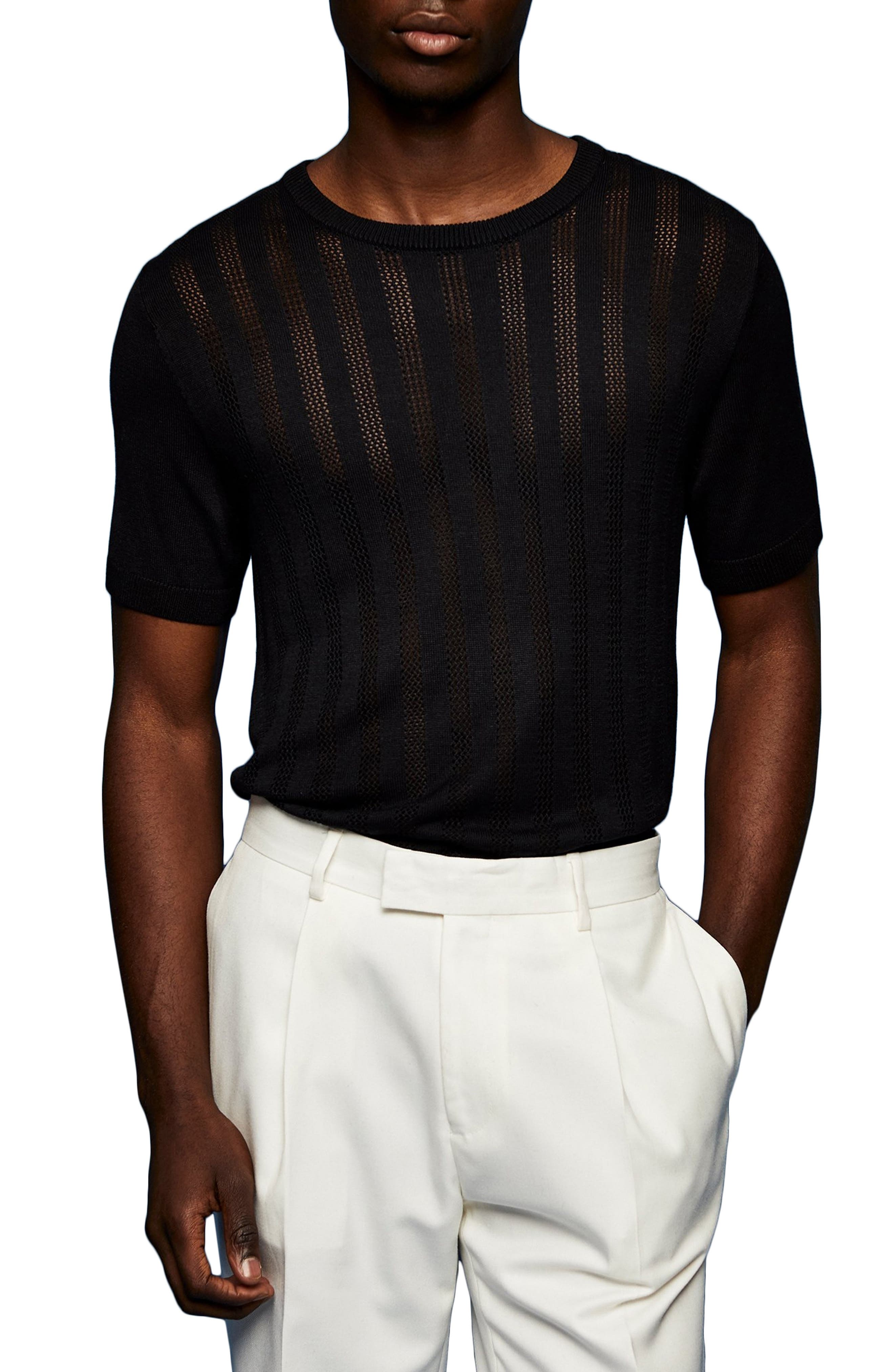 80s Men's Clothing | Shirts, Jeans, Jackets for Guys Mens Topman Slim Fit Mesh Effect Sweater Knit T-Shirt Size Large - Black $50.00 AT vintagedancer.com