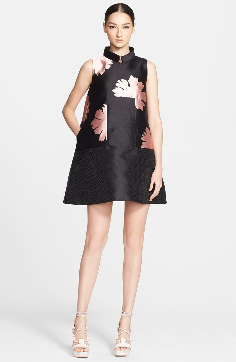 ALEXANDER MCQUEEN Peony Print A-Line Silk Dress, Main, color, 019