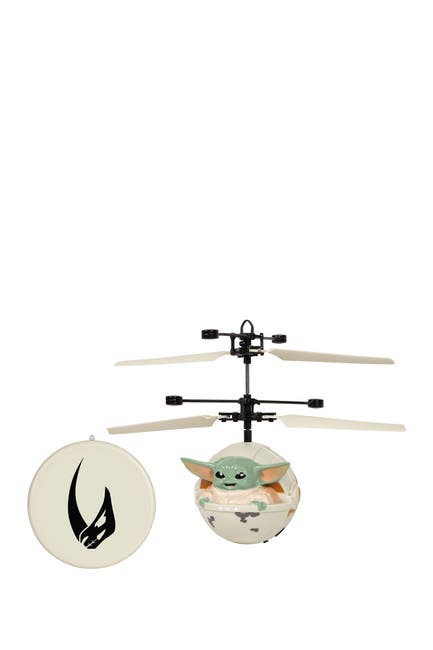 "Image of World Tech Toys Star Wars The Mandalorian Baby Yoda ""The Child"" Sculpted Head UFO Helicopter"