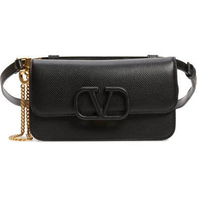 Valentino Garavani V-Sling Leather Belt Bag - Black