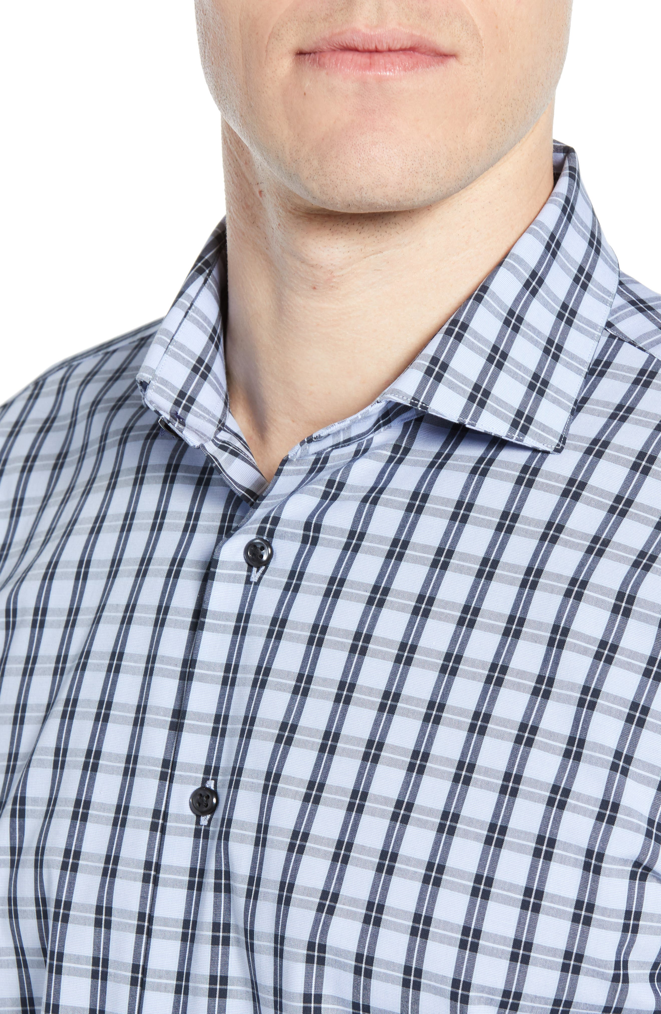 ,                             Tech-Smart Trim Fit Stretch Check Dress Shirt,                             Alternate thumbnail 2, color,                             NAVY DUSK