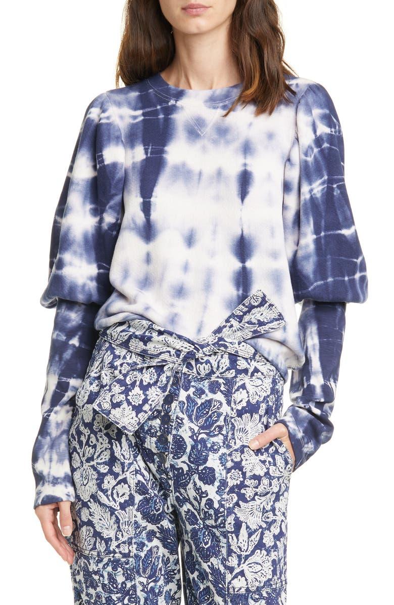 ULLA JOHNSON Philo Tie Dye Puff Sleeve Sweatshirt, Main, color, INDIGO TIE DYE