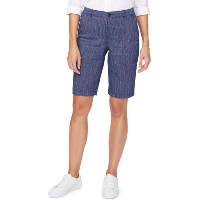 Nydj Stretch Linen Blend Bermuda Shorts, Blue