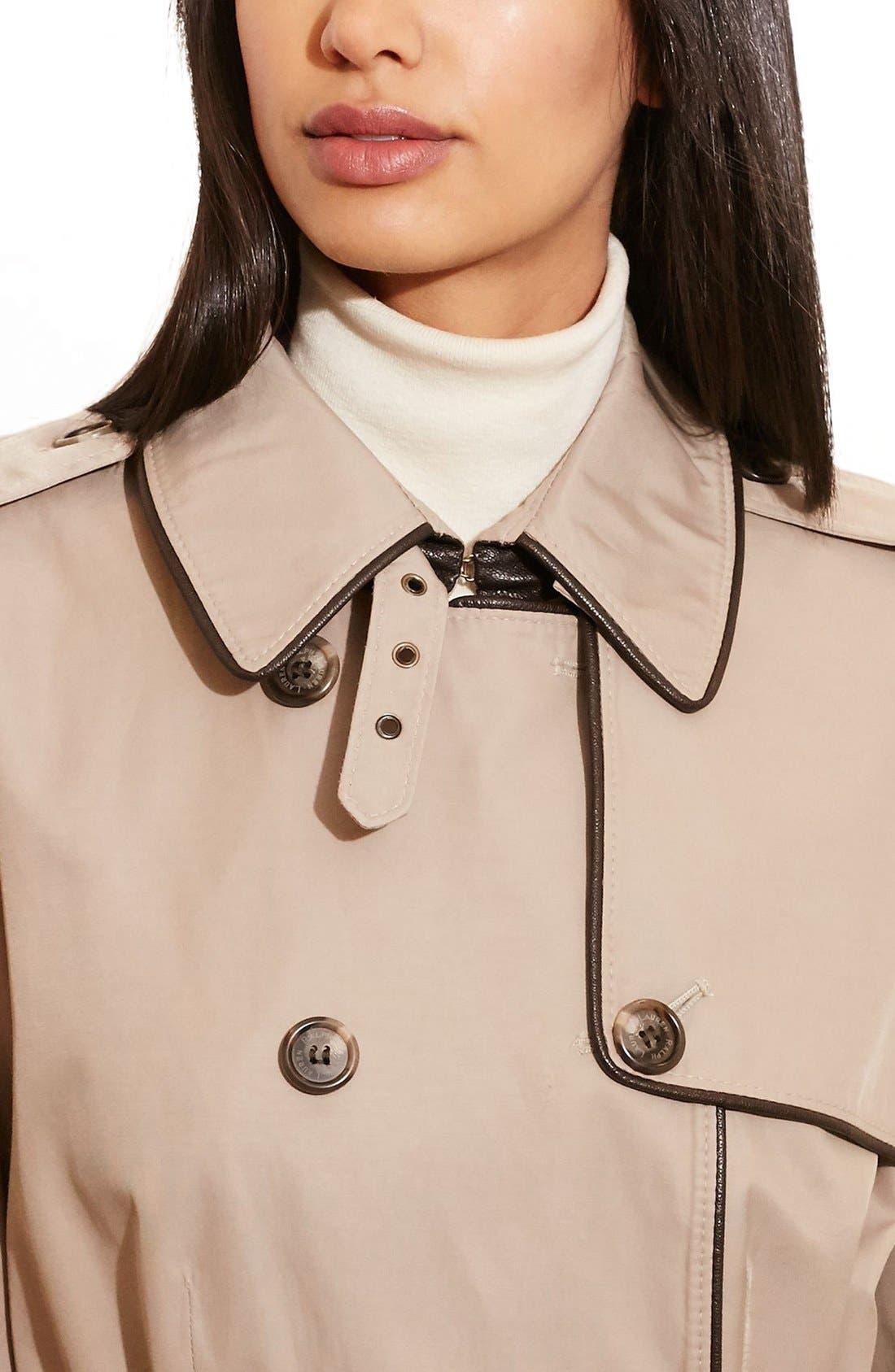,                             Faux Leather Trim Trench Coat,                             Alternate thumbnail 22, color,                             250